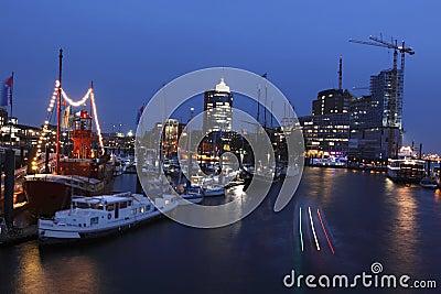 Hamburg in night Editorial Stock Photo