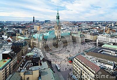 Hamburg, view of City Hall and the city panorama