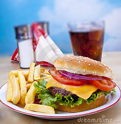 Free Hamburger And Fries Stock Photo - 19412770