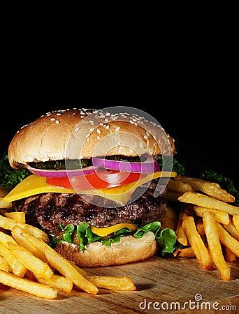 Free Hamburger And Fries Royalty Free Stock Photos - 45349778