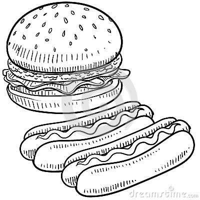 Free Hamburger And Hot Dog Sketch Stock Photography - 24689692