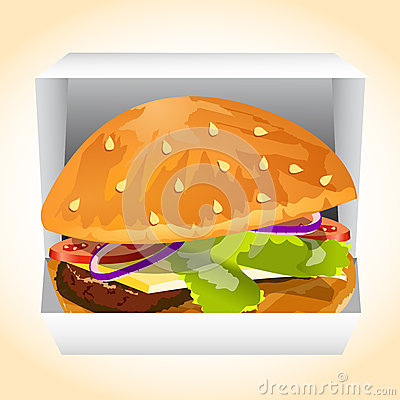 Hamburger in a box vecor