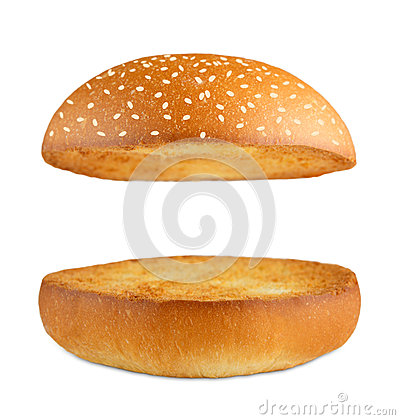 Free Hamburger Burger Empty Bun Isolated At White Stock Image - 72321651