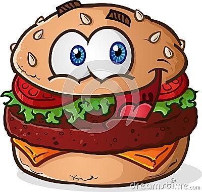Free Hamburger Cheeseburger Cartoon Character Royalty Free Stock Photography - 39796597