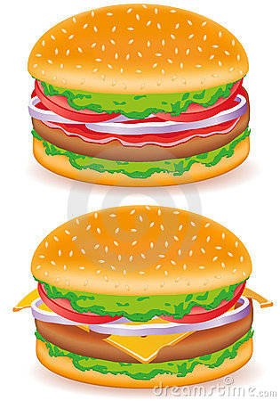 Hamburger and cheeseburger vector illustration