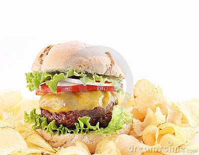 Hamburger with chips isolated