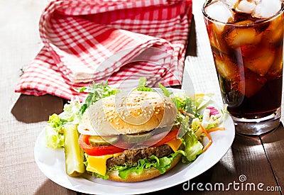 Hamburger with cola