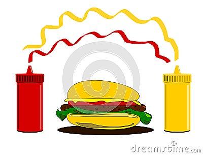 Hamburger and condiments