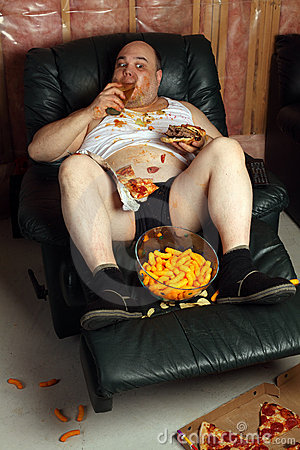 Free Hamburger Eating Lazy Couch Potato Stock Images - 20263844
