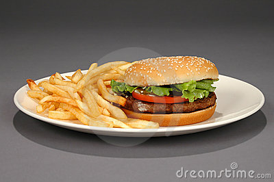 Hamburger and Fries on Neutral Background