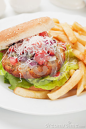 Hamburger with grated cheese