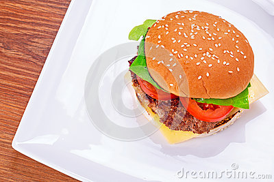 Hamburger with grilled beef