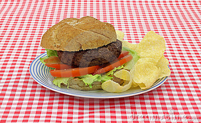 Hamburger with lettuce tomato chips