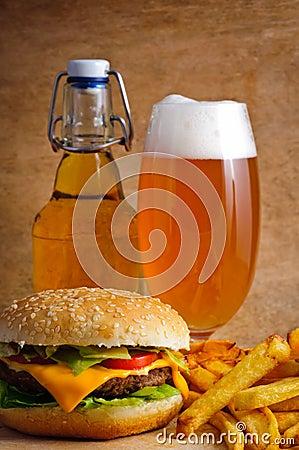 Hamburger menu with beer