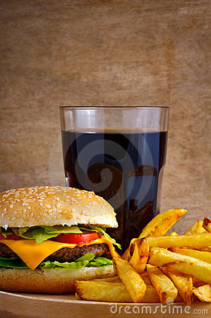 Hamburger menu with fries and cola
