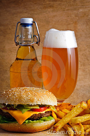 Free Hamburger Menu With Beer Royalty Free Stock Images - 21221989