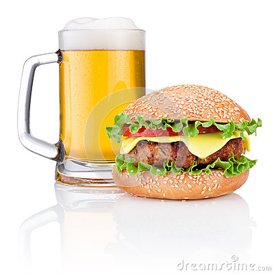 Hamburger and Mug of beer  on white background