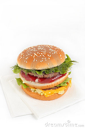 Hamburger and napkins