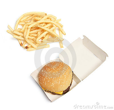 Hamburger and Potato Chips