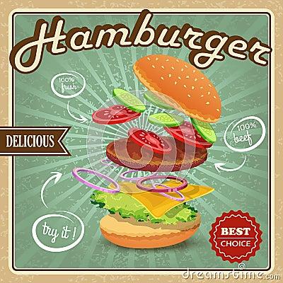 Free Hamburger Retro Poster Royalty Free Stock Images - 40174759
