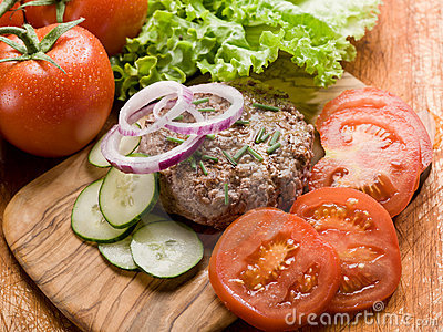 Hamburger with slice vegetables