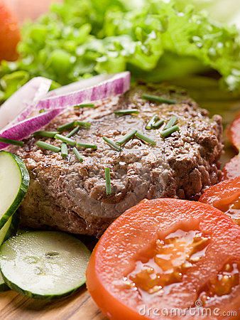 Hamburger with slice vegetables