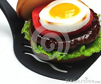 Hamburger on spatula