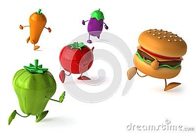 Hamburger and vegetables