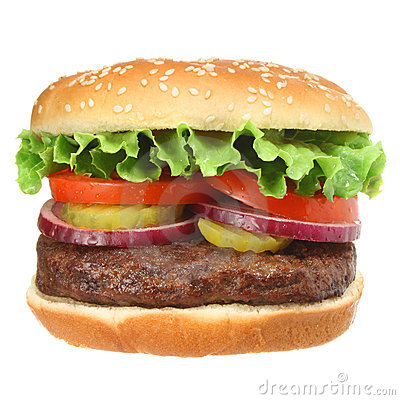 Free Hamburger With Fixings Isolated On White Stock Images - 5260064