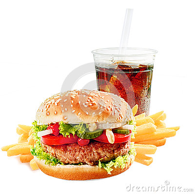 Free Hamburger With Iced Soda Drink Stock Photo - 35171140