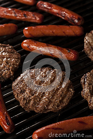 Hamburgers and Hot Dogs on the Grill