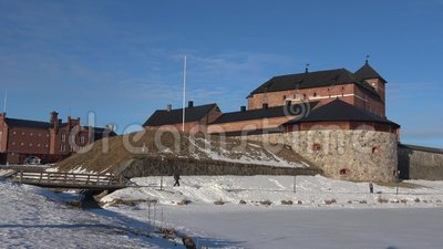 Ancient fortress of Hameenlinna close-up on a Sunny March day. Finland. HAMEENLINNA, FINLAND - MARCH 02, 2019: Ancient fortress of Hameenlinna close-up on a stock footage