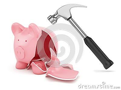 Hamer en gebroken piggybank