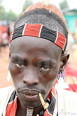 Hamer warrior with a toothstick, Ethiopia Editorial Stock Photo
