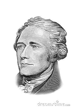 Hamilton portrait on ten dollars bill.