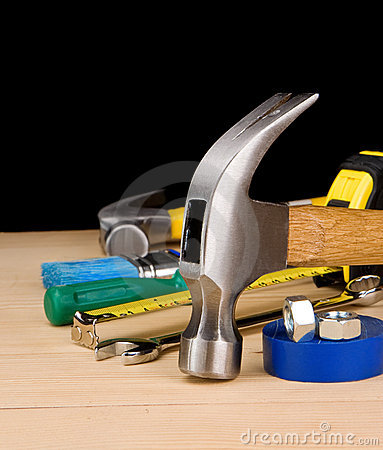 Free Hammer And Other Construction Tools On Wood Royalty Free Stock Photography - 20016477