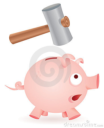 Hammer breaks piggy bank