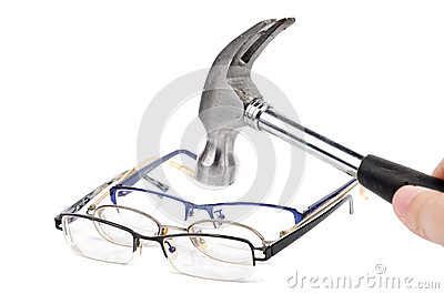 Hammer and eye glasses