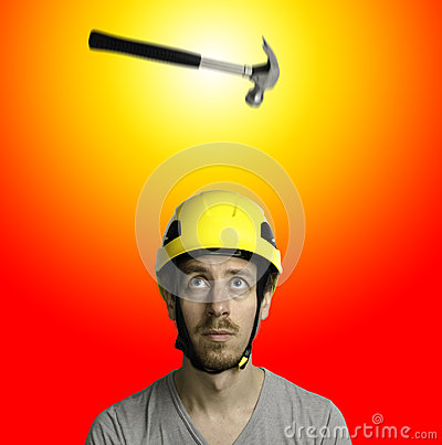 Hammer and hard hat