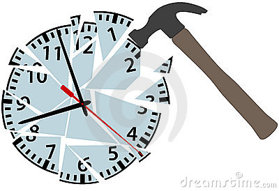 Hammer hits to smash time clock pieces