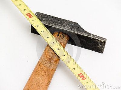 Hammer and measuring tape