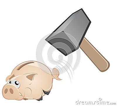 Hammer over piggy bank