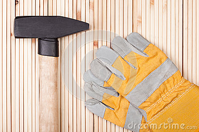 Hammer and Protective Gloves