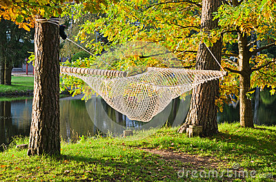 A hammock  in autumn Park