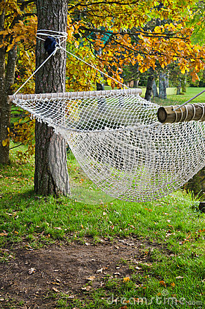 A hammock  in autumn Park