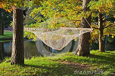 hammock near the pond in autumn Park