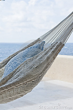 Hammock with pillow in the shade