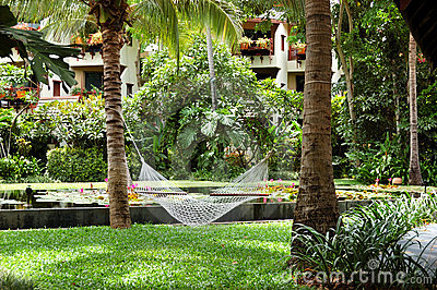 Hammock at the recreation area of luxury hotel