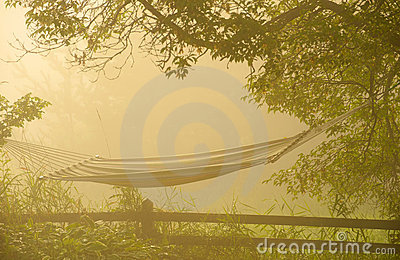 Hammock at sunrise in fog.