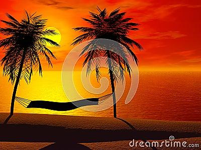 A hammock in sunset